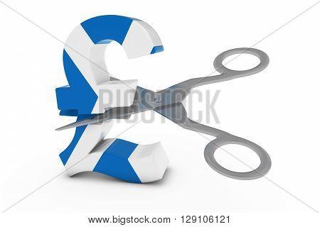 Scotland Price Cut/deflation Concept - Scottish Flag Pound Symbol Cut In Half With Scissors - 3D Ill