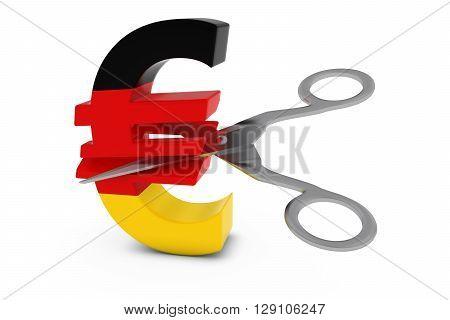 Germany Price Cut/deflation Concept - German Flag Euro Symbol Cut In Half With Scissors - 3D Illustr
