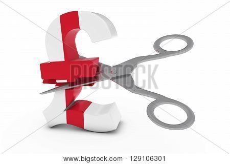 England Price Cut/deflation Concept - English Flag Pound Symbol Cut In Half With Scissors - 3D Illus