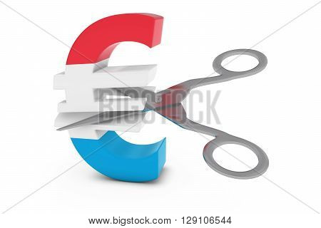 Luxembourg Price Cut/deflation Concept - Luxembourgian Flag Euro Symbol Cut In Half With Scissors -