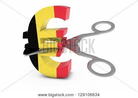 Belgium Price Cut/deflation Concept - Belgian Flag Euro Symbol Cut In Half With Scissors - 3D Illust