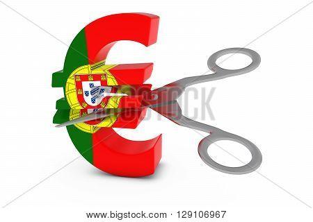 Portugal Price Cut/deflation Concept - Portuguese Flag Euro Symbol Cut In Half With Scissors - 3D Il