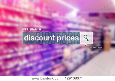 Discount prices - web search bar glossary term on internet