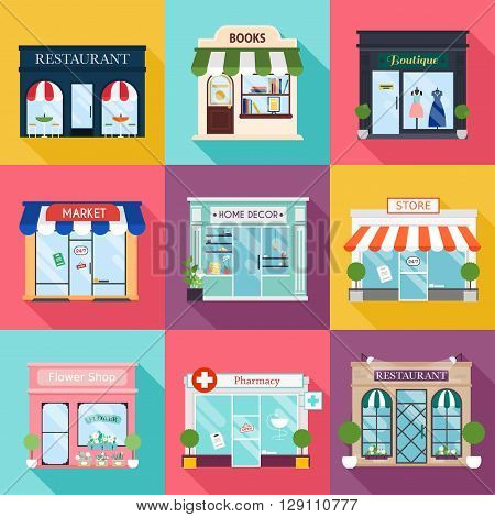 Cool set of vector detailed flat design restaurants and shops facade icons. Facade icons. Ideal for business web publications and graphic design. Flat style vector illustration.