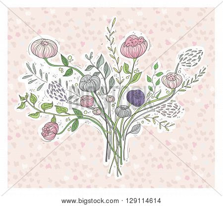 Cute floral background. Printable wall art with flowers. Vector illustration.
