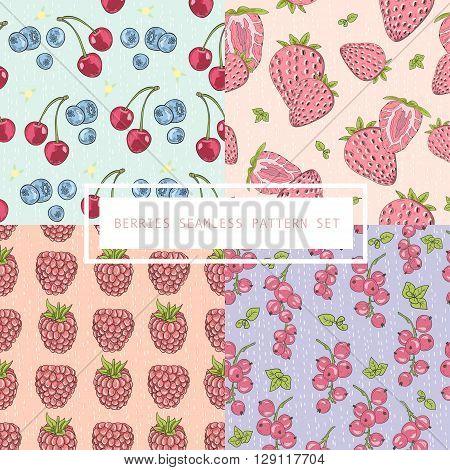 Seamless berries pattern set. Vector background with cherries blueberries strawberries raspberries.