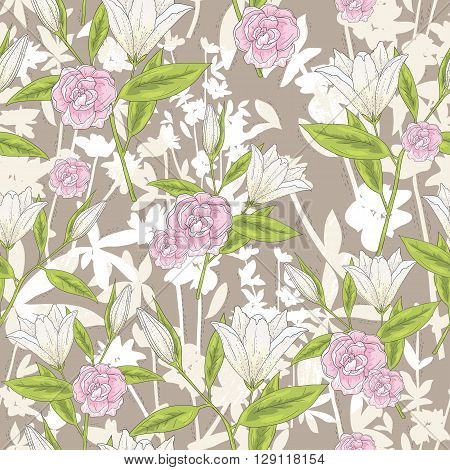 Seamless floral pattern. Vector background with lilly flowers and roses.