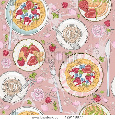 Seamless breakfast pattern with flowers waffles fruits berries and coffee. Vector background with strawberries coffee tangerines and raspberries.