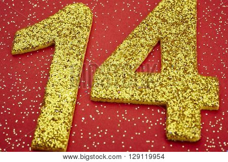 Number fourteen yellow color over a red background. Anniversary. Horizontal