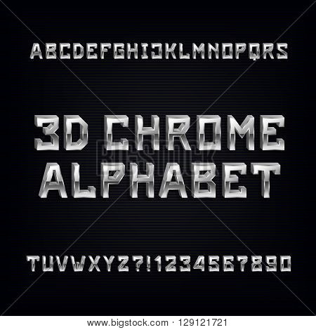 3D chrome alphabet font. Volumetric metal effect letters and numbers on a dark background.