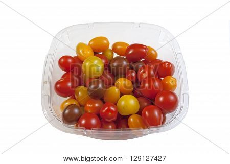 Plastic Container filled with a variety of small organic tomatoes