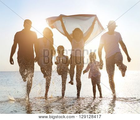 Happy friends with kids ?elebration beach party summer. Holiday and vacation concept