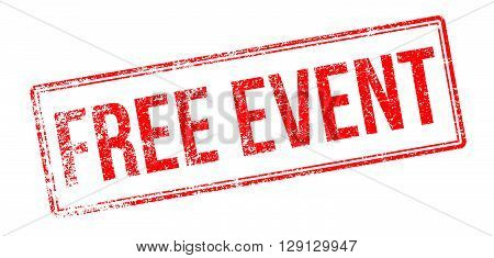 Free Event Red Rubber Stamp On White
