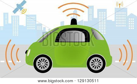 Intelligent controlled car smart navigation.Automobile sensors use in self-driving cars .Autonomous self-driving driverless Car