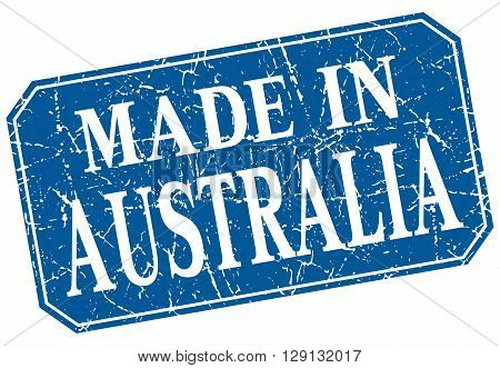 made in Australia blue square grunge stamp