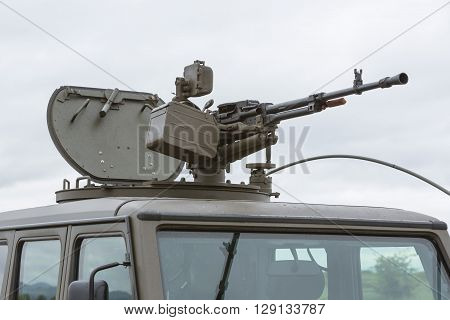 Military Vehicle With Heavy Machine Gun