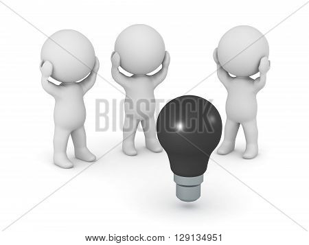 Three 3D characters standing around a dark light bulb. No ideas concept. Isolated on white background.