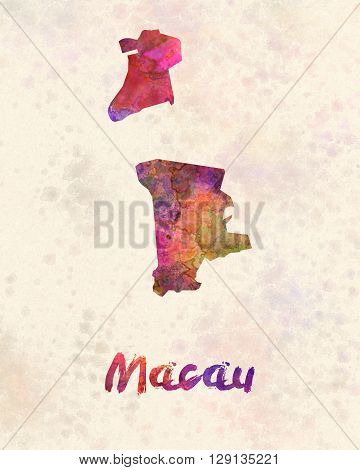 Macau map in artistic abstract watercolor background