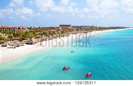 Aerial from Eagle beach on Aruba in the Caribbean