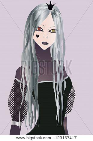 Dark Princess with long grey hair and big heterochromic eyes in dark corset dress
