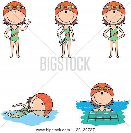 Cute vector swimmer girls in different situations: with a raised thumb with a towel standing with hands on hips swimming in the pool relax in the pool