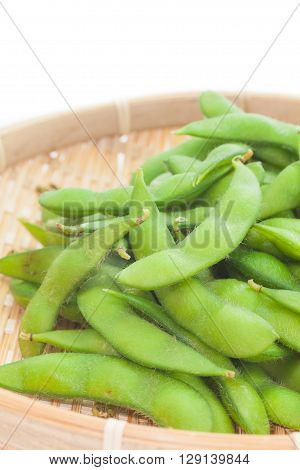 Edamame bean Soybean in the pod boiled or steamed and served with salt