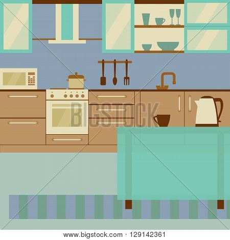 Kitchen interior design with home furniture and kithenware. Vector flat illustration. Laconic soft palette