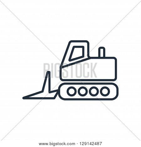 Bulldozer grader icon in thin line style. Vector illustration. Vector symbols.