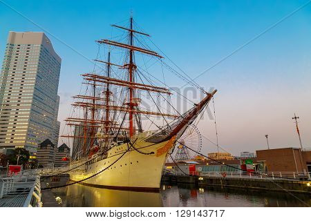 YOKOHAMA JAPAN - NOVEMBER 24 2015: Nippon Maru was built in 1930 a retired sailing ship which permanently docked at Minato Mirai and opened to the public as Yokohama Port Museum