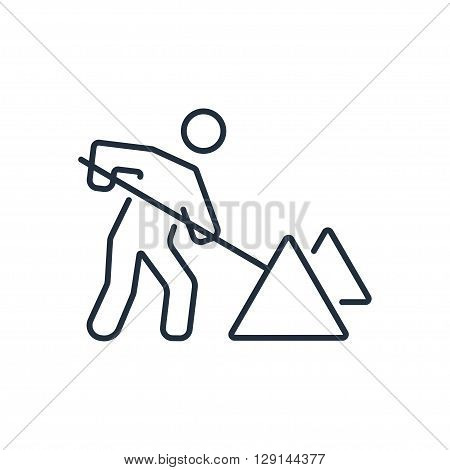 Roadwork icon in thin line style. Vector illustration. Vector symbols.