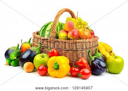 collection fruit and vegetable in basket isolated on white background