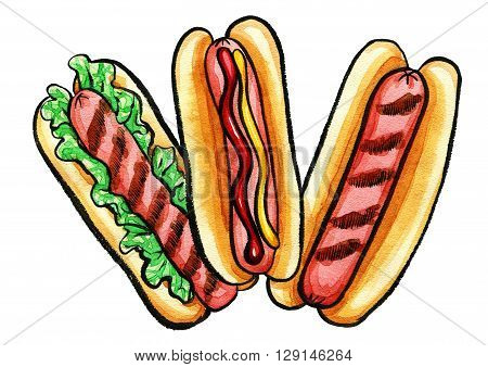 Hand drawn watercolor illustration of hot dogs with mustard, ketchup, grill marks and green relish. Isolated on the white background, food drawing