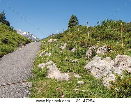 A view of Alpine mountains surrounding the village Schroecken in Bregenzerwald region Vorarlberg Austria