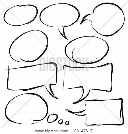Collection of speech bubbles in hand drawn style line cartoon dialogs vector