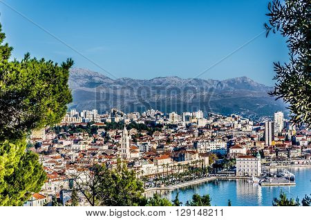 View from Marjan hill at Split town during sunny warm day, Croatia Europe. Split is touristic place on Adriatic sea. poster