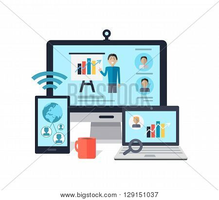 Training staff briefing presentation. Meeting, staffing and corporate business employee onlane seminar, mentor business seminar meeting vector. Man near board carts graphs in computer laptop screen