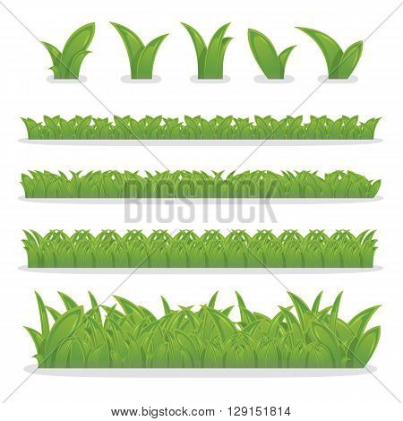 Collection of green grass grass border for decoration in your works vector
