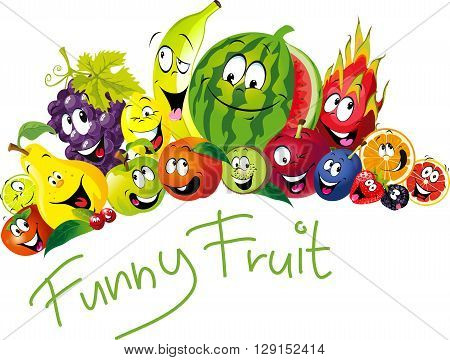 Funny fruit - many fruit with smile and happy face - vector fruit illustration