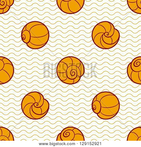 Spotted seamless background with round shells