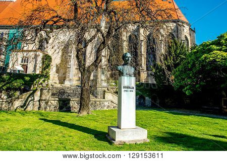 Bust sculpture of Anton Bernolak near Saint Martin's cathedral in Bratislava city, Slovakia