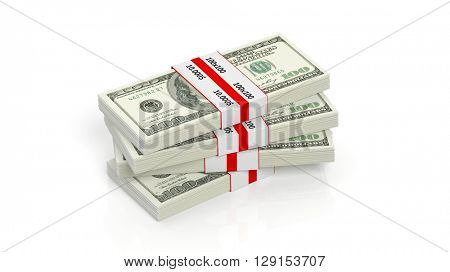 3D rendering of 100 Dollars banknote bundles stack, isolated on white background.