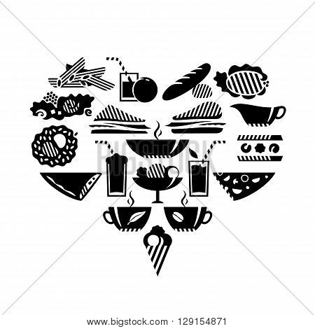 Foods and drinks in heart shape. Black.