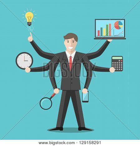 Effective competent leader businessman or manager with many hands doing a lot of tasks. Multitasking versatility competence efficiency management concept. EPS 8 vector illustration no transparency poster
