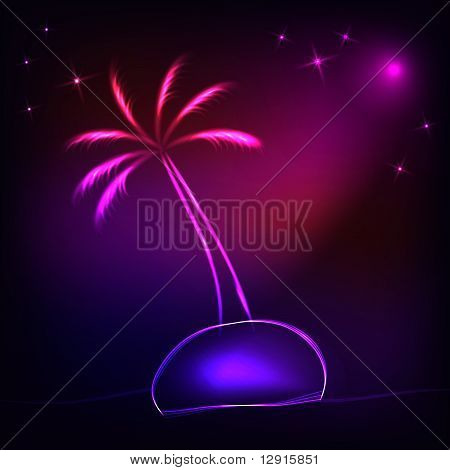 island with a neon palm tree