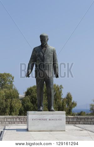 HERAKLION GREECE - AUGUST 1 2013: Monument Eleftherios Venizelos one of the leaders of the revolutionaries who sought in 1897 unification of Crete with Greece