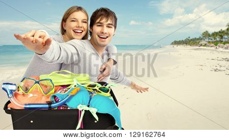 Happy couple ready for vacation.
