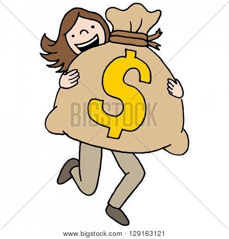 An image of a woman carrying a large moneybag