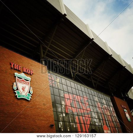 LIVERPOOL, ENGLAND - July 16th 2015: A view of Anfield, home to Liverpool Football Club