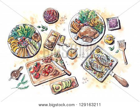Healthy Food Meal Set Flat Lay Watercolor Illustration