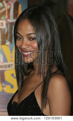 """Zoe Saldana at the World premiere of """"Dirty Deeds"""" held at the DGA Theatre in Hollywood, USA on August 24, 2005."""